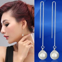 fashion single pearl long box chain nice latest designer inspired earrings for cute girls