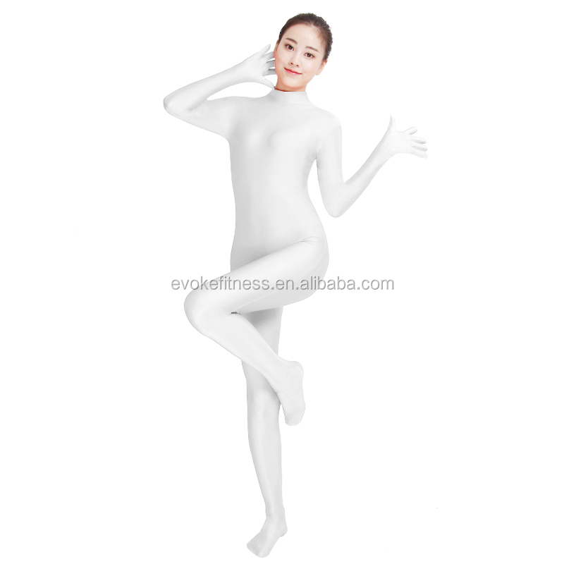 White Boat Neck Adult Full Body Ballet Unitard/Dance Costume/ Gymnastics Leotard/Cosplay Wear