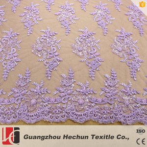 HC-0579 HeChun customized purple embroidery African lace fabric