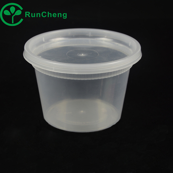 16oz Microwavable PP plastic clear soup cup with clear lid