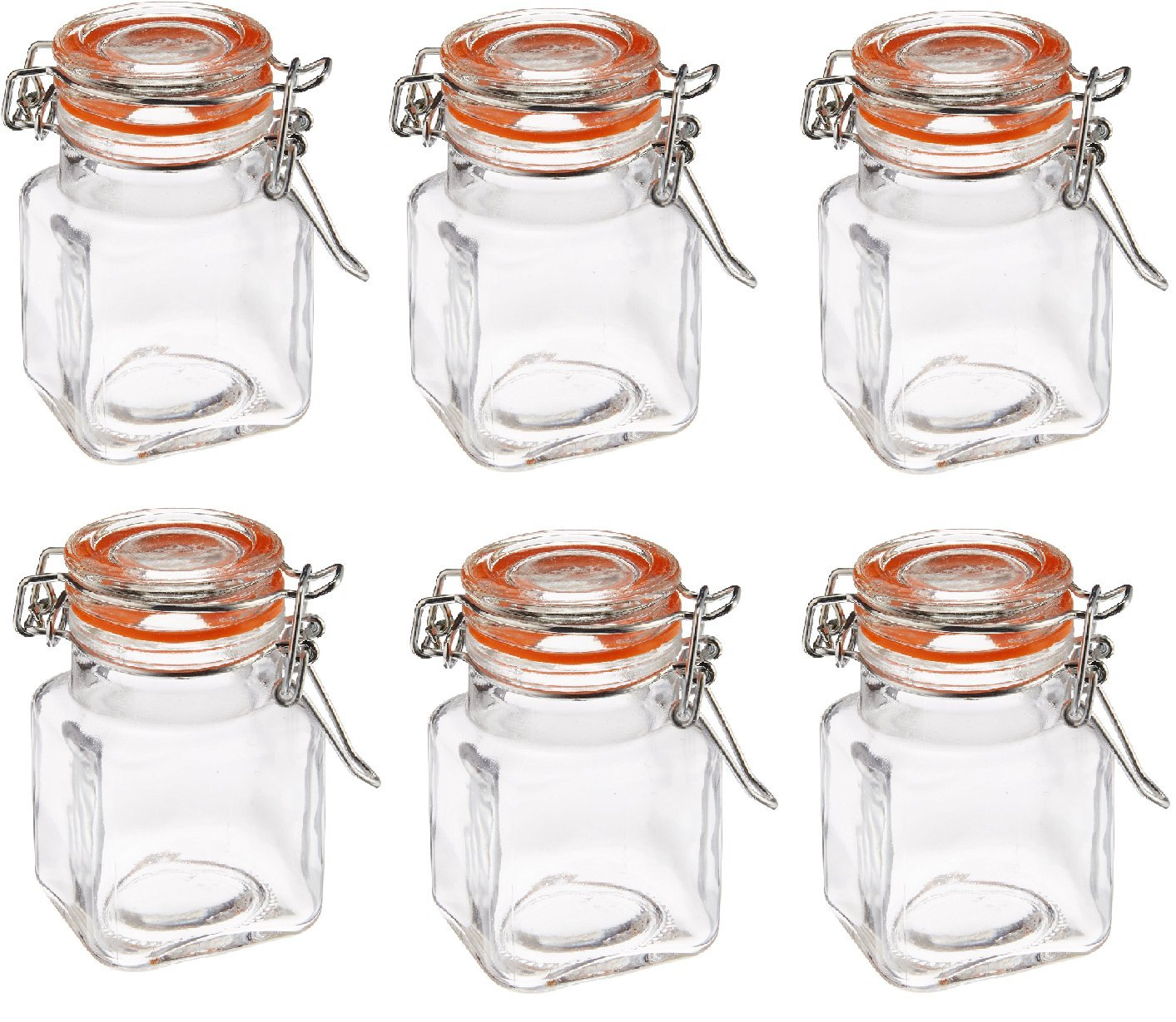 Grant Howard 3.4-Ounce Square Clear Glass Spice Jar, Set of 6, Small
