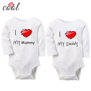 short sleeve summer baby romper baby jumpsuit clothing for new born baby with I LOVE MY MOM AND DAD printing