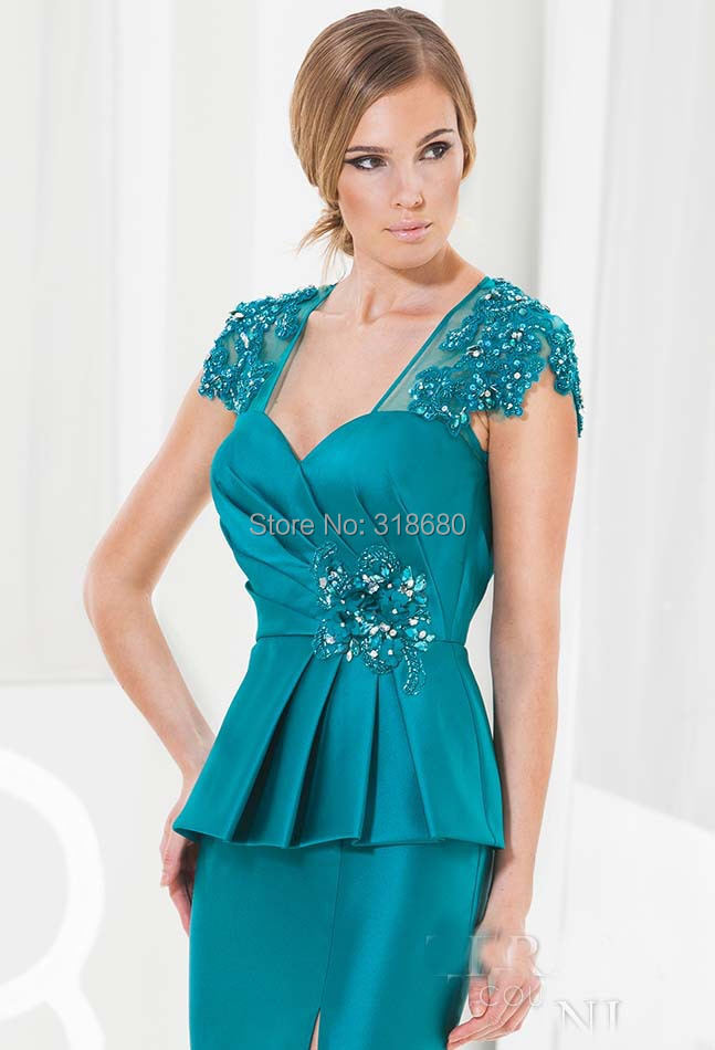 Teal Blur Sheer Curtains Living Room Decorations: Cap Sleeve Sheer Back Peplum Teal Blue Satin Mother Of The