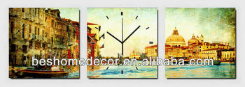European italy Venice scenery types of old clocks, cross stitch clock, clock wall vintage