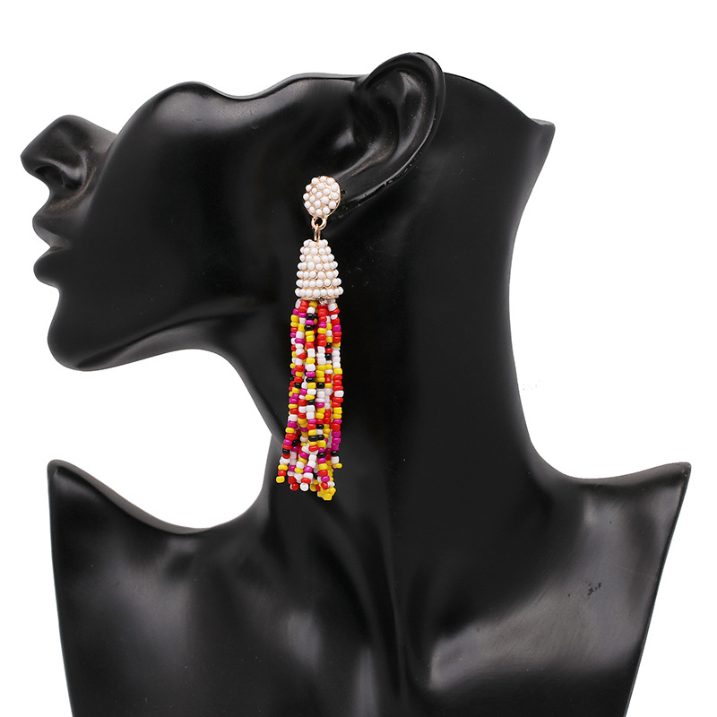 Women seed bead tassels earrings,Fashion classic trendy hot selling earrings