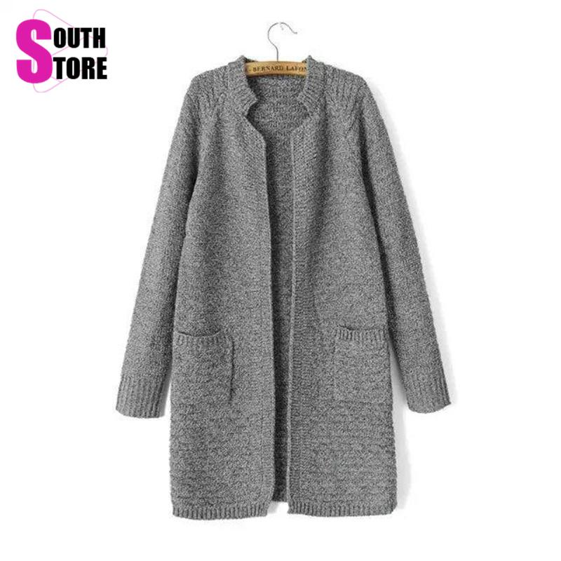 2015 New Fashion Solid Brief Thick Autumn Winter Long Women Sweater Casual Pockets Full Sleeve Stand Collar Knitted Cardigan