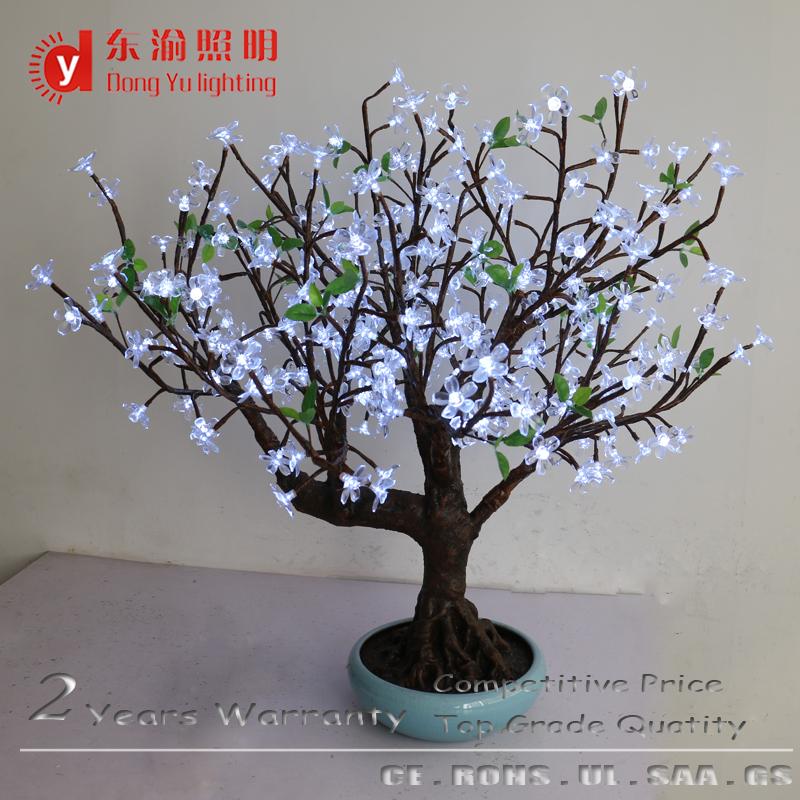New Design Ceramic Base High Artificial White Light Cherry Blossom Bonsai Tree For