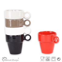 8OZ promotional customized dishwasher safe ceramic stoneware drinking coffee solid color stackable mug