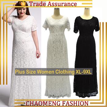 3021 Short Sleeve Fat Women Lace Dress Patterns Long One Piece