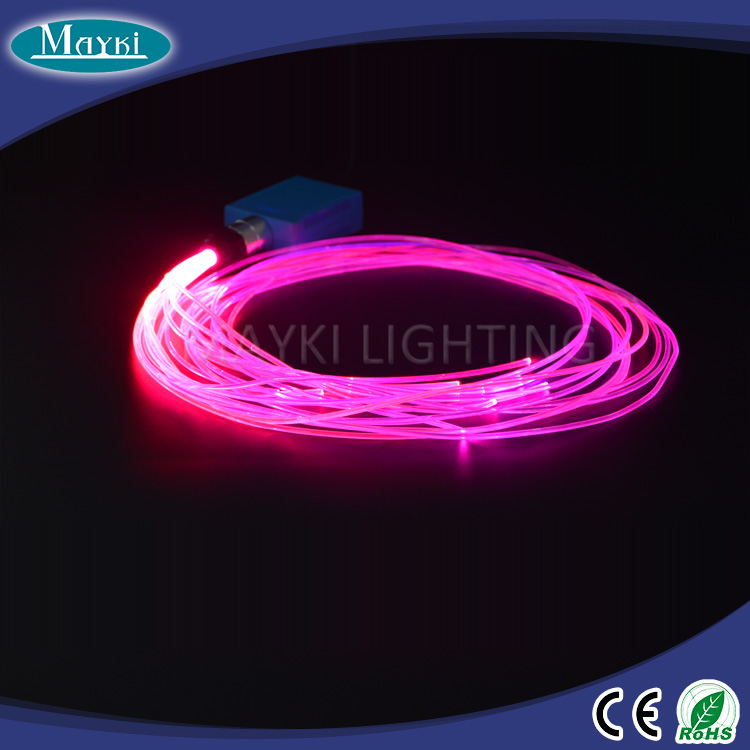 Colorful fiber optic light kit for car decoration with soft side glow fiber and LED light driver