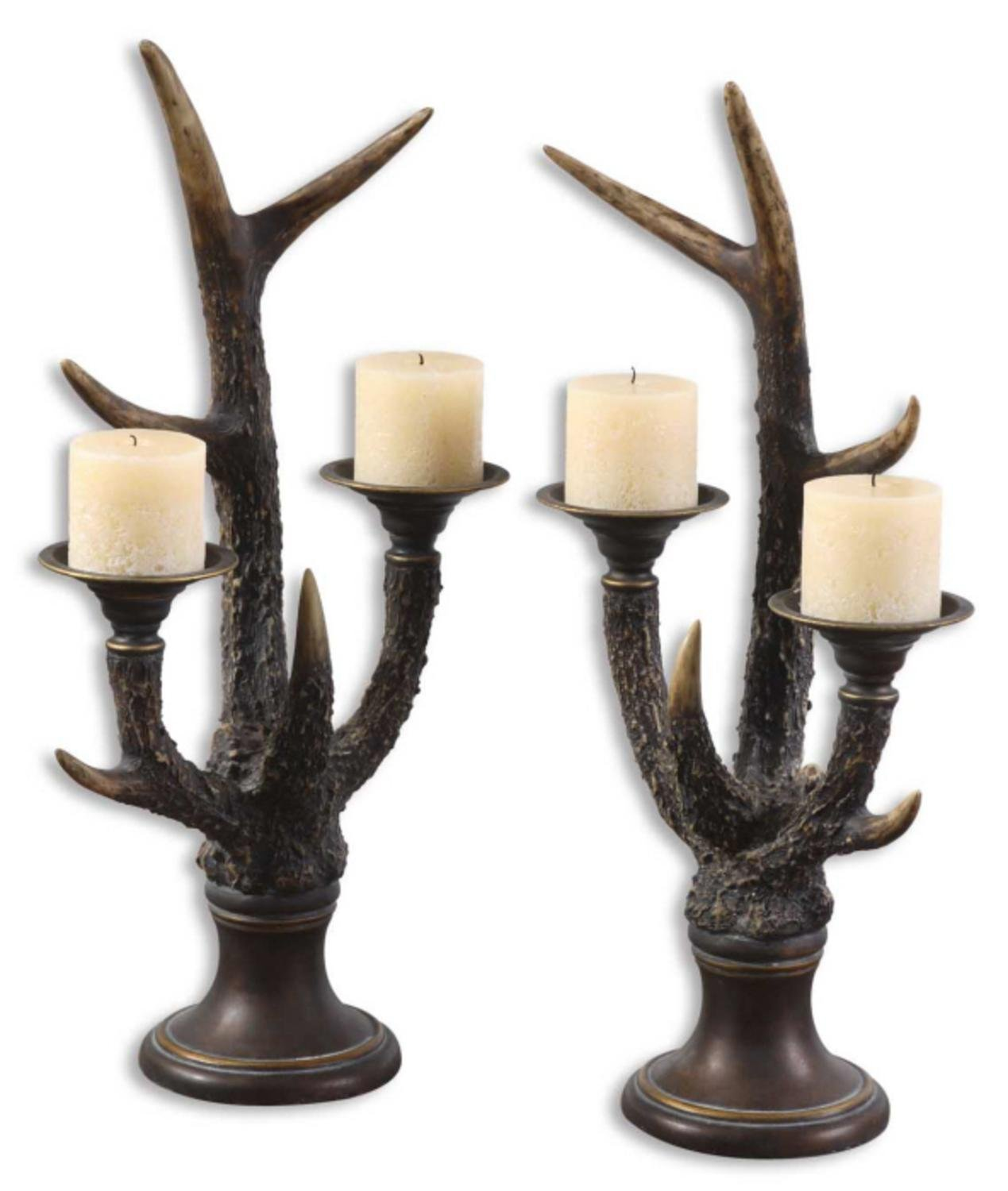 Lovely Get Quotations · Pack Of 2 Decorative Mahogany U0026 Bronze Antler Pedestal  Pillar Candle Holders ... Amazing Pictures