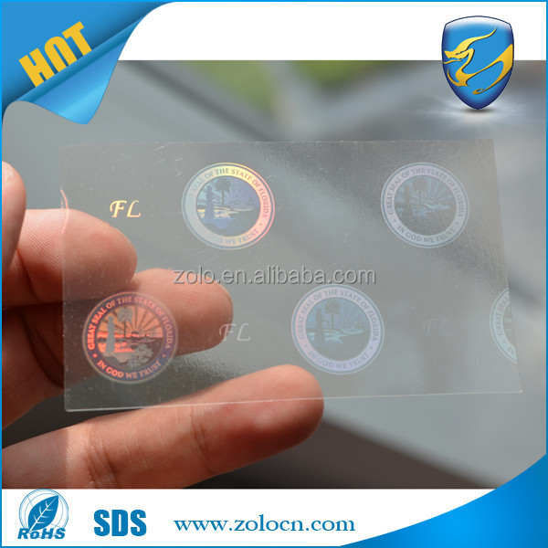 professional manufacture hot custom security label sticker overlay florida id hologram