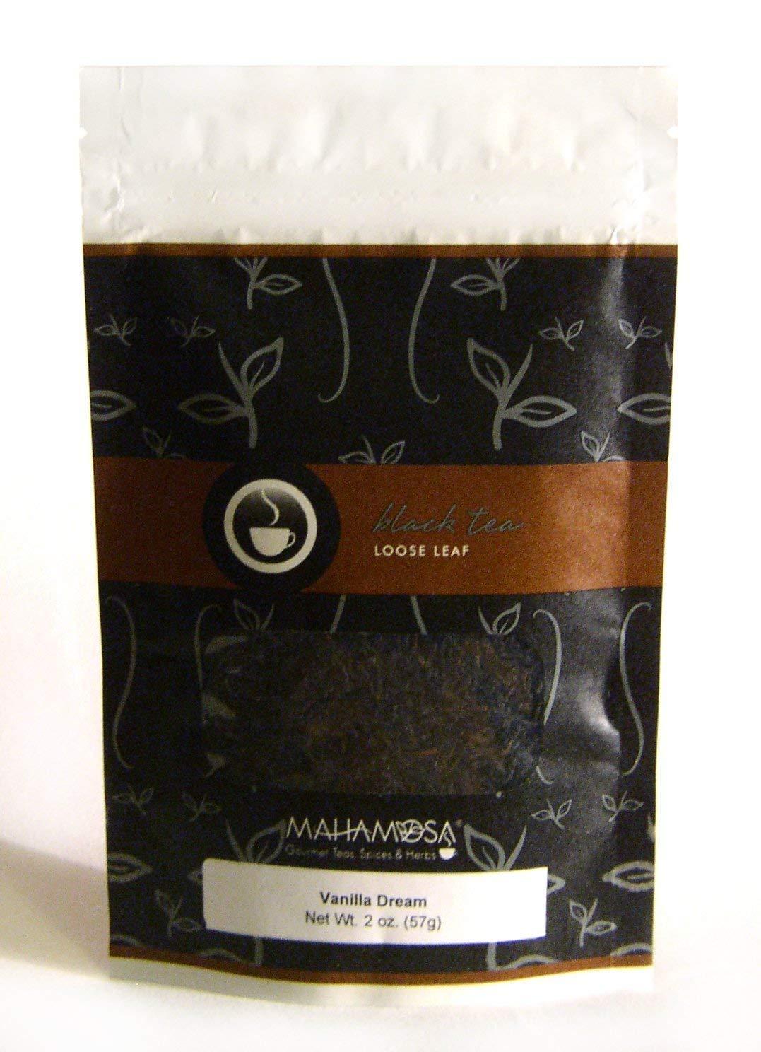 Mahamosa Vanilla Dream Tea 2 oz - Loose Leaf Flavored Black Tea Blend (with black tea, flavoring, vanilla pieces)