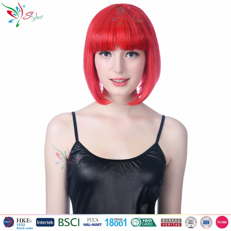 Styler Brand bob style synthetic hair sex hot school girl wigs fashion  short red wig 520f359313e2