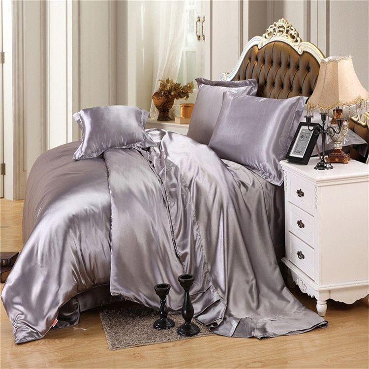 Gray Silk Bedding Set Silk Duvet Cover set