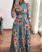 2018 New Women Boho Beach Long Casual Dress Autumn New Design Long Sleeve Floral Print Womens High Collar Maxi Dresses