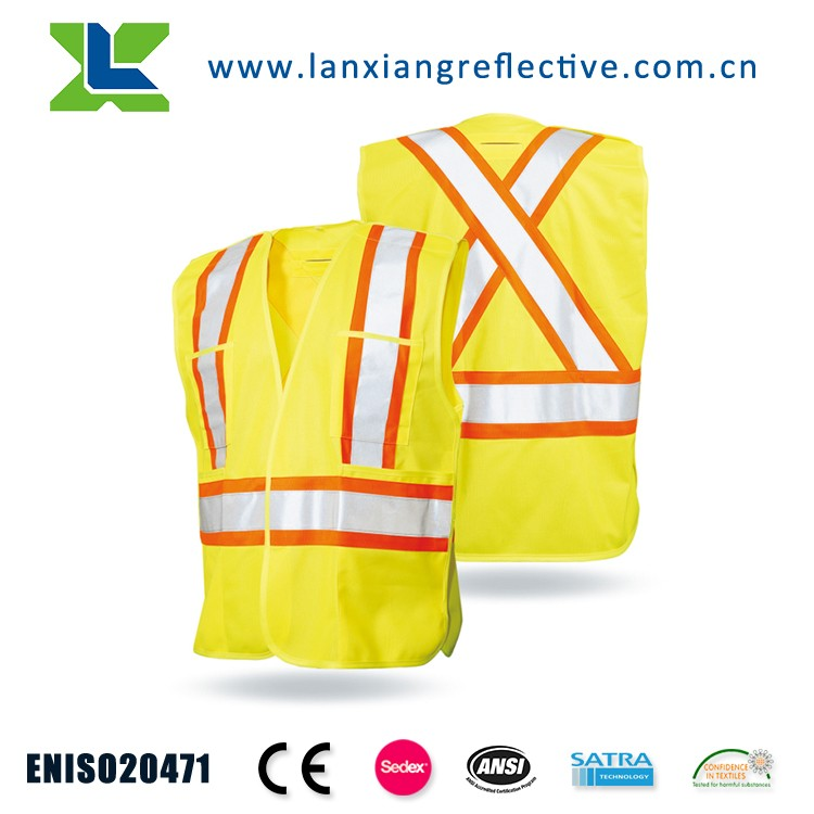 LX632 Knitted fabric fluorescent running reflective safety vest