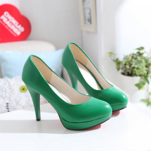 440ba807abbc 2018 New Fashion Women Shoes High Heels Sweet Princess Wedding Shoes Green  Yellow Single Shoes Work