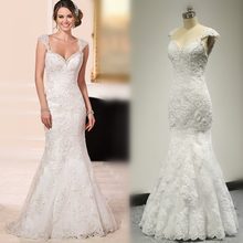 Vestido De Noiva Cap Sleeve Mermaid Wedding Dress Lace Appliqued Real Photo 2016 New Style Factory Custom Make 6105
