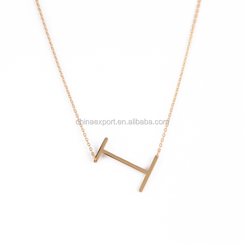 New trendy 18K gold large sideways initial necklace