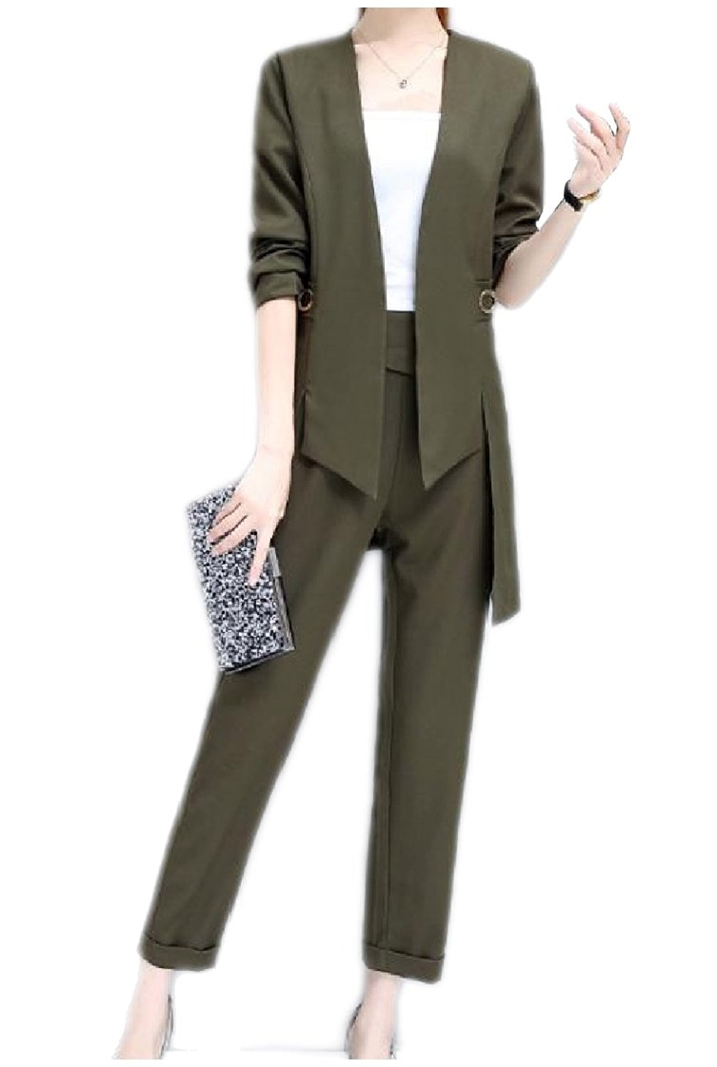 548dd937a Get Quotations · Coolred-Women Draped Tuxedo Solid Colored Jacket and Pant  Suit Set