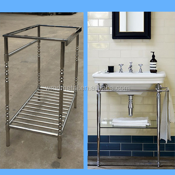 polished nickel bathroom vanity console for sink base