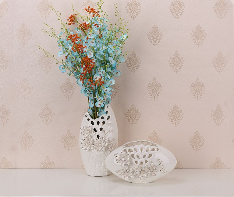 On Glazed Hollow Carved Modern White Ceramic Flower Vases With 3d