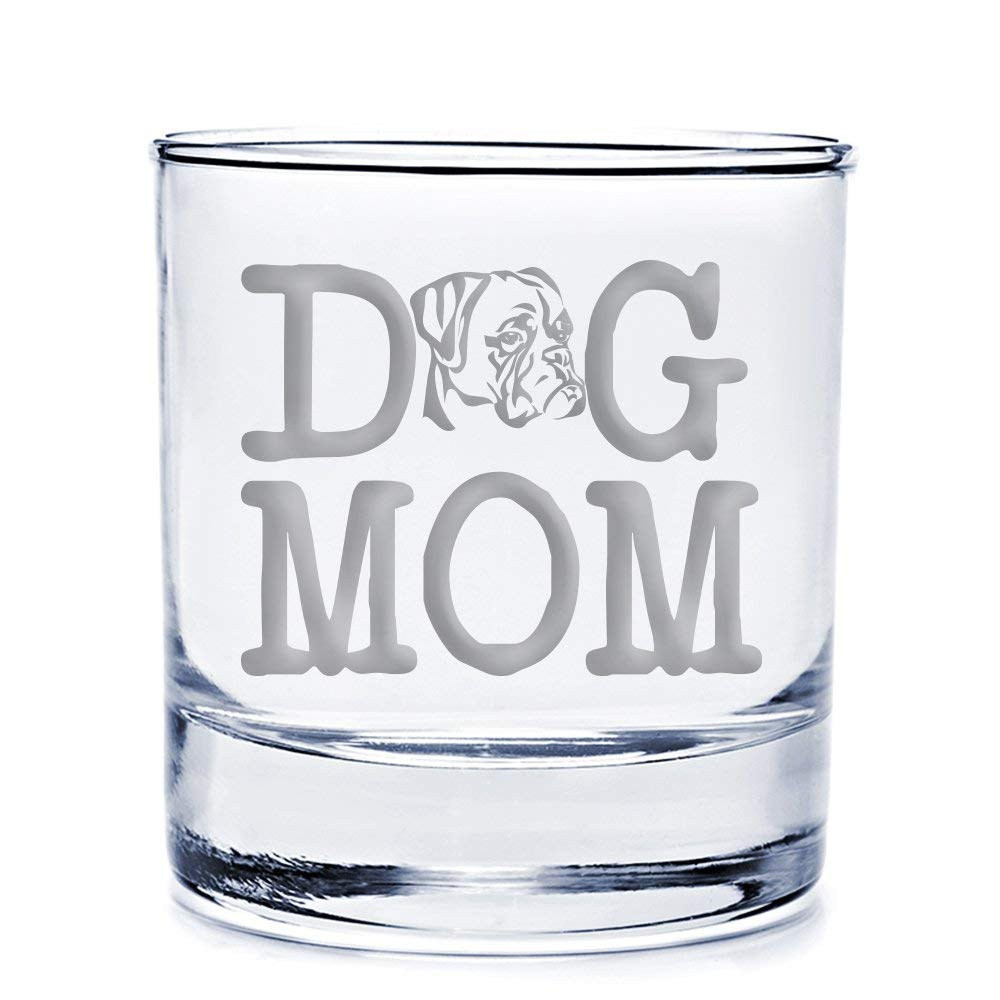 Dog Mom Boxer Engraved 10-ounce Rocks Glass