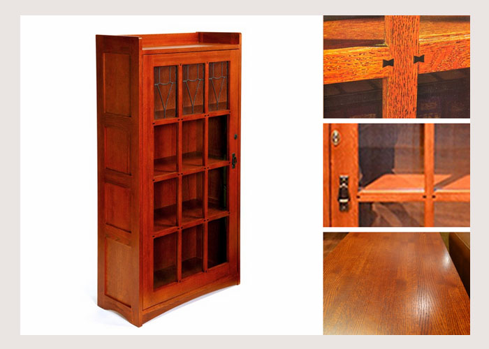 2017 Factory high quality American country style wood oak Single Door Bookcase with glass door