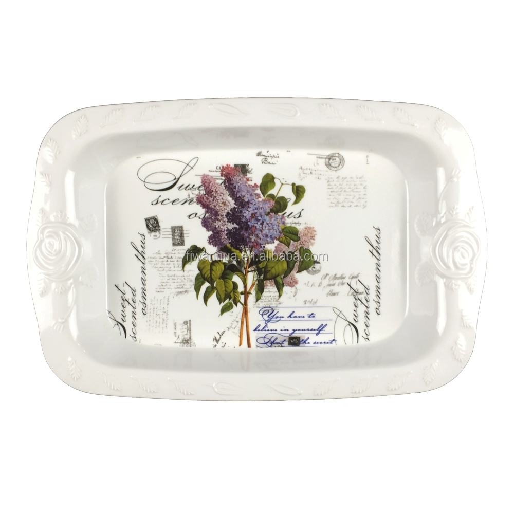 Rose carving side melamine tray for hotel serving