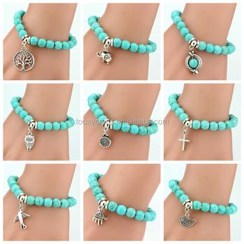 c2f64df7740f Hecho a mano nuevo diseños turquesa pulseras de perlas con cabeza de  elefante cuentas para Navidad