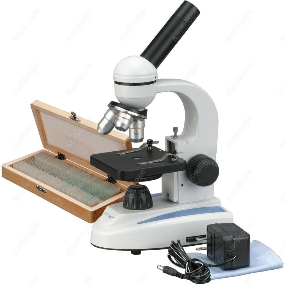 Student Compound Microscope-AmScope Supplies 40X-1000X Home School Student Compound Microscope + 50 Prepared Slide Collection