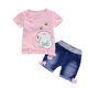 High quality girls casual sets 2019 girl white t-shirt&short pants sets summer style children's wear kids clothes