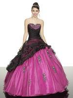 SJ1355 Fashion sweetheart embroidry black and fuchsia organza Crystals bead ball gown wedding dress