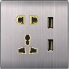british standard 5 pin multi function switched socket with 2 usb socket