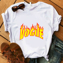 Женская футболка Vogue Fire, белая футболка из 100% хлопка с надписью «Minimalism», повседневные Мягкие женские футболки в стиле Харадзюку(Китай)