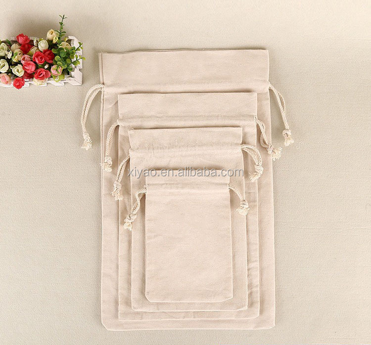 Drawstring Muslin Calico Bags Natural Color Blank Großhandel