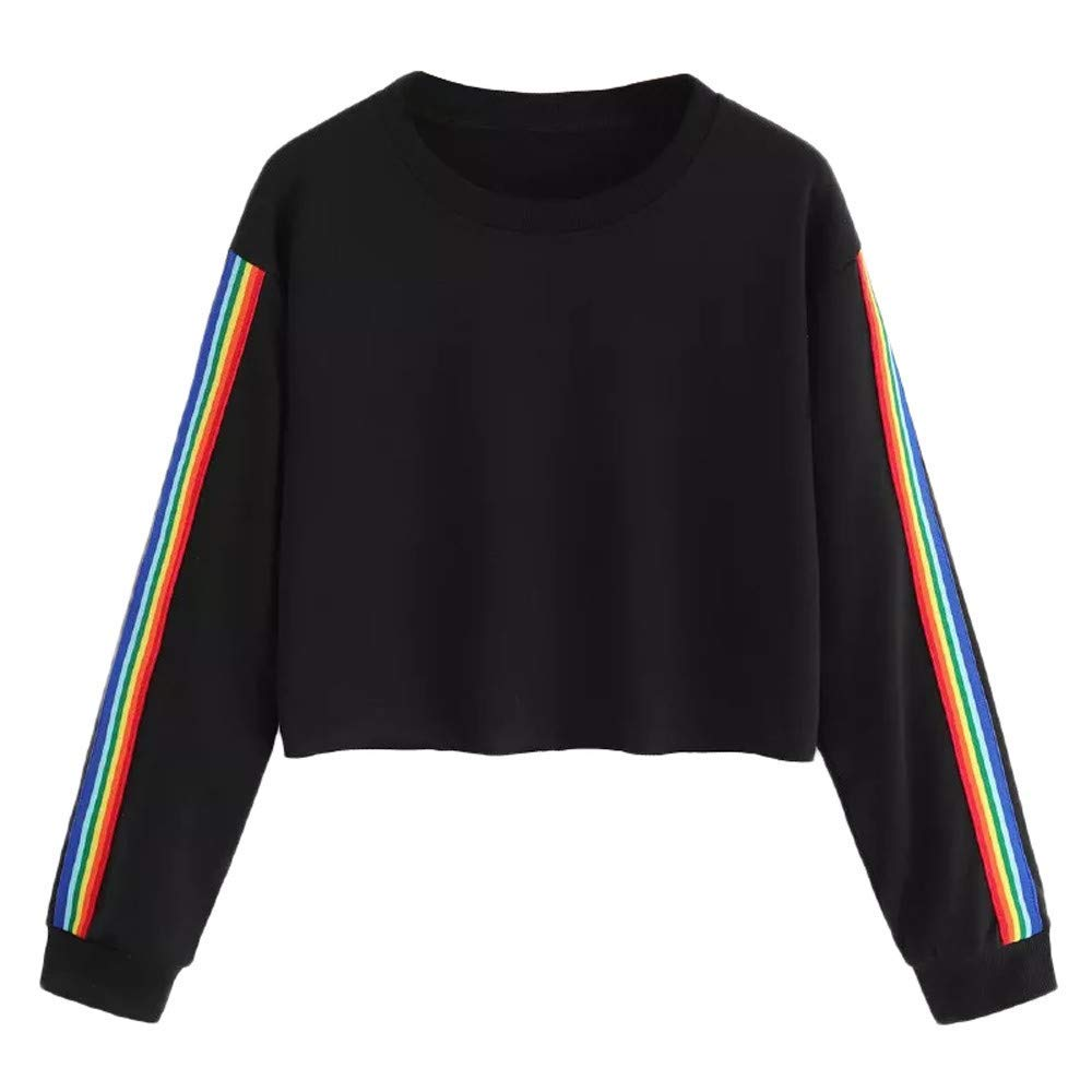 Snowfoller Women Crop Tops Fashion Rainbow Striped Long Sleeve Short Blouse Casual Autumn O-Neck Pullover