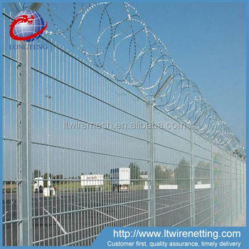 Airport Security Welded Wire Mesh Panel And Razor Barbed Wire ...