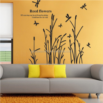 Acrylic Butterfly Dance Flowers Wall Stickers Living Room Tv ...