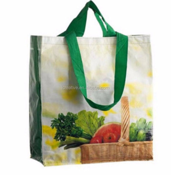 Full-color Custom LOGO printed pp woven shopping bag for supermarket