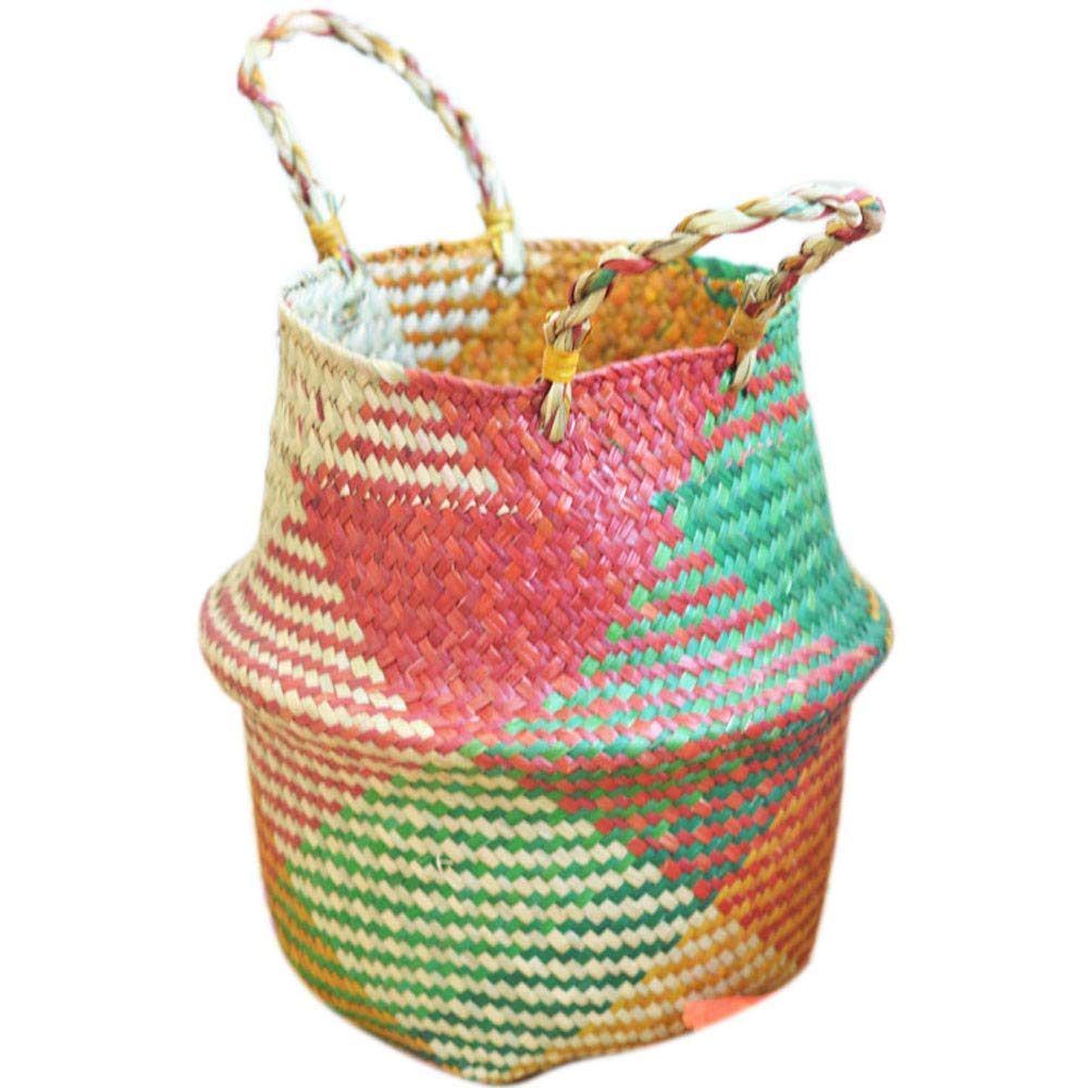 AutumnFall Clearance! Seagrass Wicker Basket Wicker Basket Flower Pot Folding Basket Dirty Basket Storage Home Decoration (A)