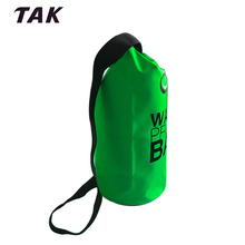 15L 500D Floating PVC Outdoor Green Camping Flexible Waterproof Dry Bag