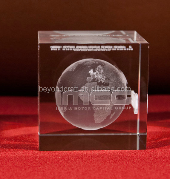 Unique Cube Glass Engraving Etched Crystal Company Annivesary Paperweight Gifts