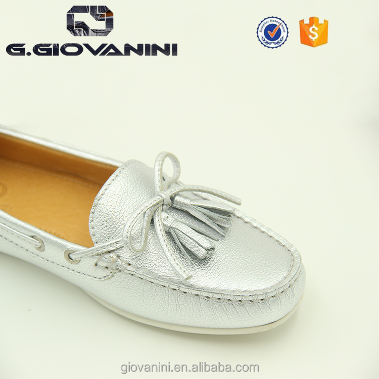 flat women Leather women big size 39~44 shoes 2018 Quality shoes silver FqxaUWwzI