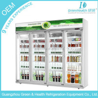 Commercial glass door beverage 4 door display cooler