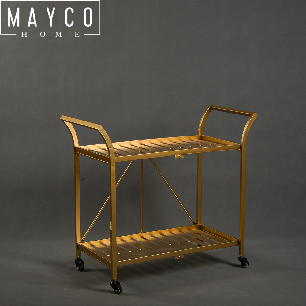 Mayco Other Bar Furniture Metal 2 Tiered Gold Service Bar Cart