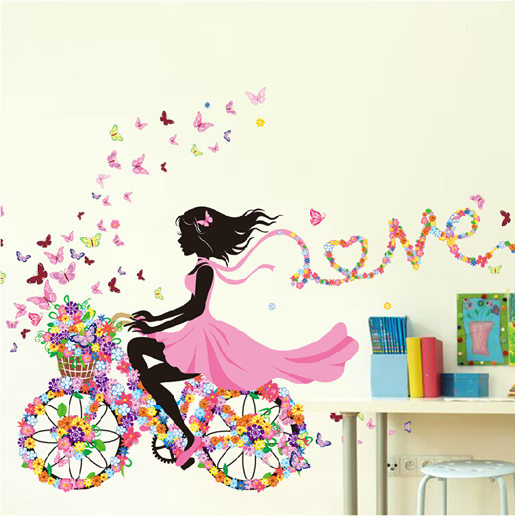 Girly Bedroom Items: DIY Wall Stickers Home Decor Pink Princess Cycling Girl