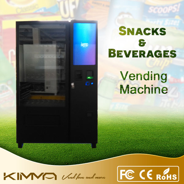 Ice water and snack food touch screen vending machine with locker