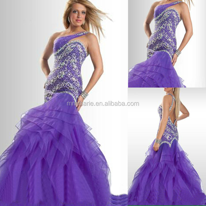 Mermaid One Shoulder Open Back Miss Usa Beauty Pageant Dress Evening ...